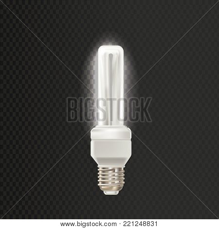 Light realistic luminescence fluorescent lamp, with different bandwidth. Economical, energy-saving light bulbs. Fluorescent lamp in aluminium body, elongated shape. Vector illustration isolated.
