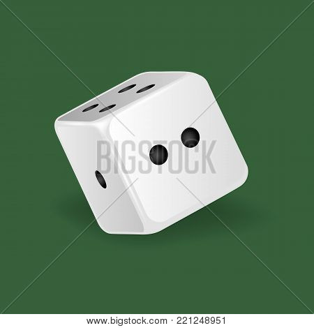 Realistic white dice. Gambling game, casino, dice. Hobbies, professional occupations. Dice casino gambling, with random various numbers: one, two four Vector illustration isolated