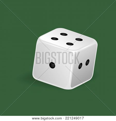 Realistic white dice. Gambling game, casino, dice. Hobbies, professional occupations. Dice casino gambling, with random various numbers: one, two, four. Vector illustration isolated.