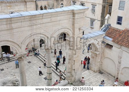 SPLIT, CROATIA - MAY 21, 2017: Top view of Peristyle in Palace of the Emperor Diocletian withtourists in Split