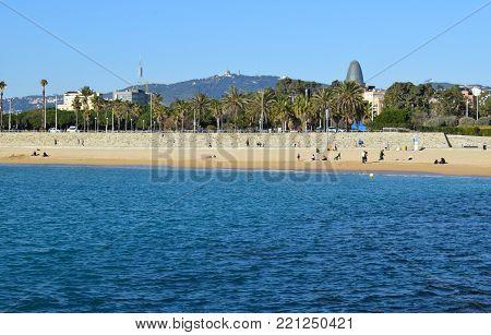 Beaches of the Mediterranean Sea city of Barcelona