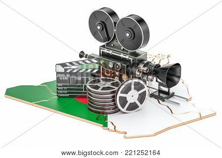 Algerian cinematography, film industry concept. 3D rendering isolated on white background
