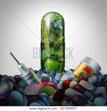 Alternative medicine supplement concept as natural herbal medication in a capsule versus pharmaceutical treatment as a 3D illustration.