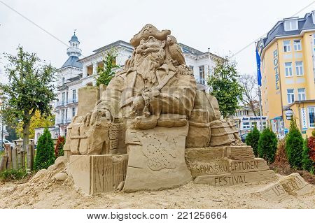 Heringsdorf, Germany - October 24, 2017: sand sculpture in Heringsdorf, Usedom. This sculpture in the city is part of the annual sand sculpture festival, a great tourist attraction