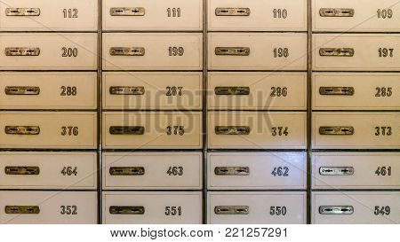 istanbul, Turkey - January 2018: Rows of safety deposit boxes in a bank vault or security lockers