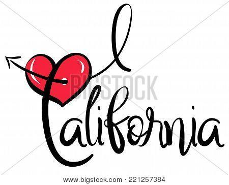 I Love California - Vector Graphic Illustration