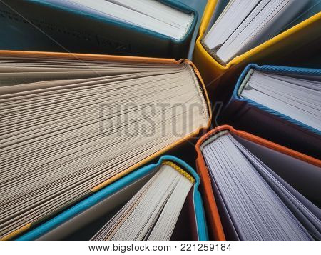 The spines of books. The view from the top