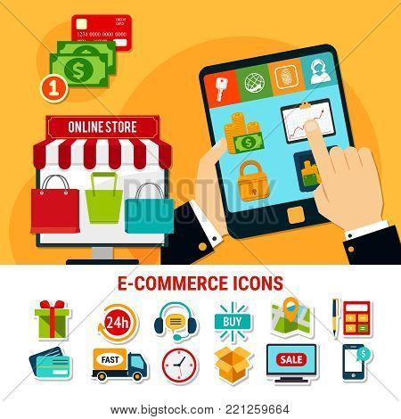 E-commerce set of flat icons with online store, money, products, delivery, electronic devices isolated vector illustration