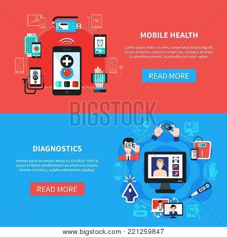 Mobile digital health software devices gadgets for measurements and diagnostics 2 horizontal flat banners isolated vector illustration