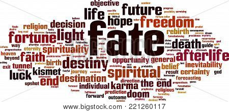 Fate word cloud concept. Vector illustration on white