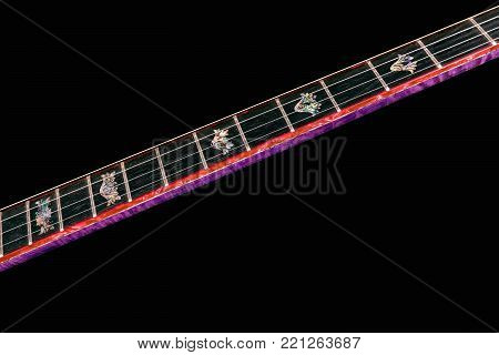 5-string banjos on black background. Carved wooden neck Benjo. Beautiful carved painting. Unusual violet color of wood., archtop tonering