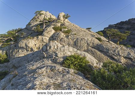 The top of the mountain lit by the morning sun. Beginning of September. Karaul-Oba, Novyy Svet, Crimea.