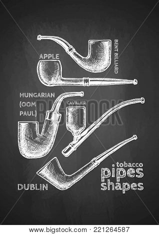 Vintage set of Tobacco Pipes drawn with chalk on blackboard. Pipe shapes: apple, bent billiard, hungarian (Oom Paul), cavalier, dublin.