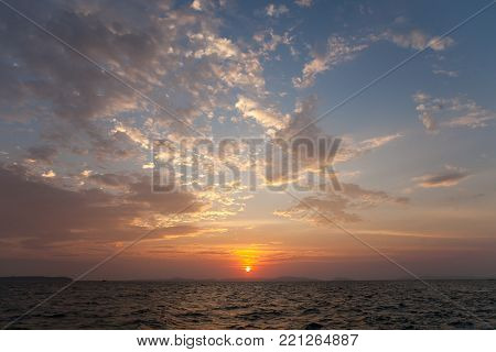 Beautiful ocean sunset view in Sihanoukville, Cambodia