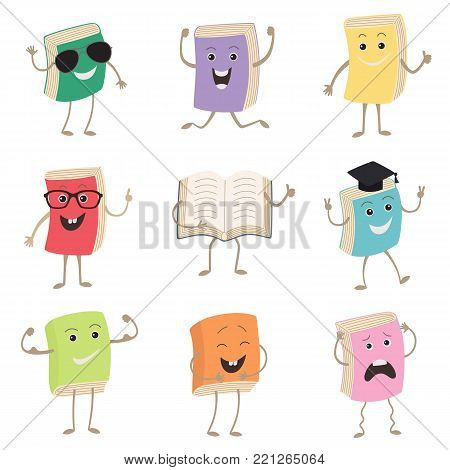 Cute Humanized Books Characters Representing Different Types Of Literature, Kids And School. Set of funny book characters, mascots, cartoon. Vector illustration isolated on white background. Humanized, childish books with smiling faces, arms and legs, sch