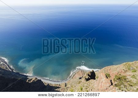 Looking Down A Cliff At The Cabo Girao Viewing Platform In Madeira, Portugal.