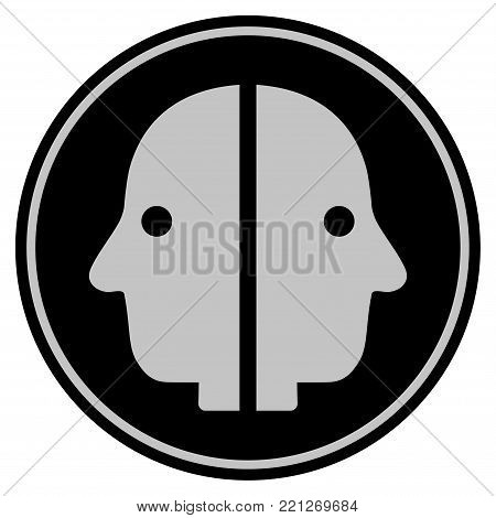Dual Face black coin icon. Vector style is a flat coin symbol using black and light gray colors.