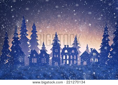 Paper Winter Landscape With Village And Christmas Trees In Snow Night.
