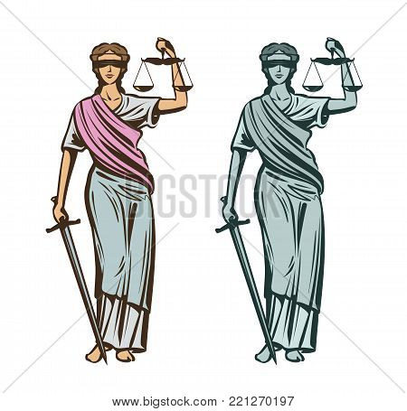 Justice symbol. Woman with blindfold, scales and sword in hands. Vector illustration