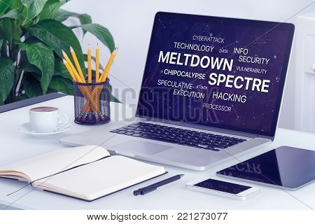 Meltdown and spectre threat concept. Chipocalypse meltdown and spectre threat on laptop screen.