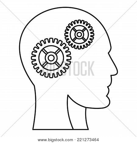 Humans brain with gearwheel icon. Outline illustration of humans brain with gearwheel vector icon for web