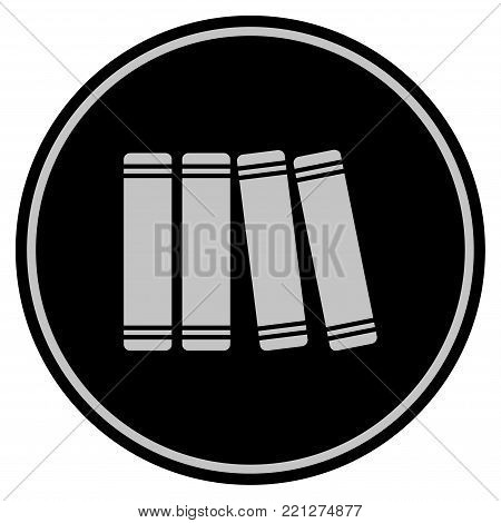 Books black coin icon. Vector style is a flat coin symbol using black and light gray colors.