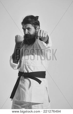 bearded karate man, long beard, brutal caucasian hipster with moustache in white kimono with black belt holds hands posing with serious face on grey background, unshaven guy