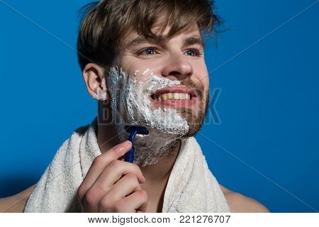 Bachelor Smile With Shaving Cream, Razor And Towel