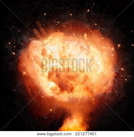 Atomic bomb explosion mushroom isolated on black background.
