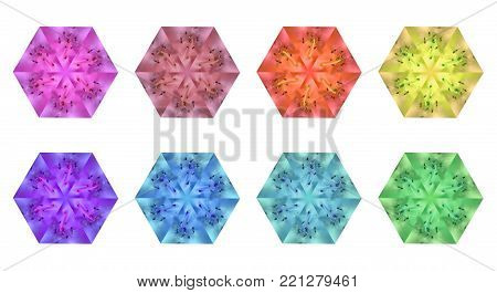 Set of multicolored design elements -- macro azalea with kaleidoscope effect. Creative floral sexangles for decoration of frames, backgrounds, greeting cards, scrapbooks, applique works poster