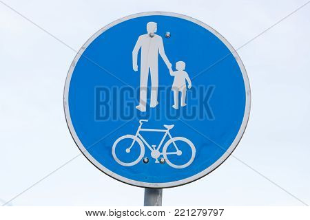 road sign pedestrian and bicycle zone close-up
