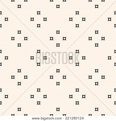 Vector minimalist seamless texture. Subtle abstract minimal monochrome geometric pattern with small geometric shapes, outline rounded squares. Modern minimal background. Small design element for prints, decor, package, wrapping paper, textile, linens