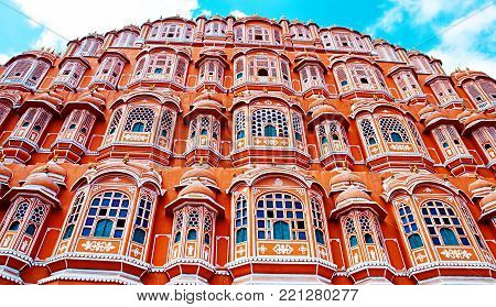 Famous Rajasthan landmark - Hawa Mahal palace (Palace of the Winds), Jaipur, Rajasthan