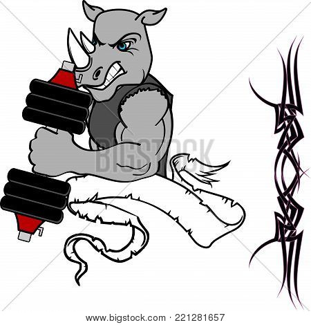 muscle rhino cartoon fitness weight training gym in vector format