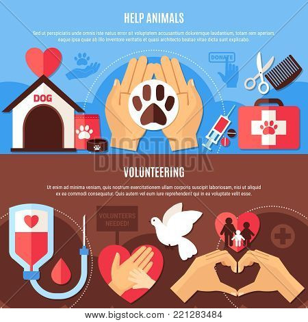 Charity horizontal banners collection with editable text and flat symbols with images of medical and veterinary equipment vector illustration