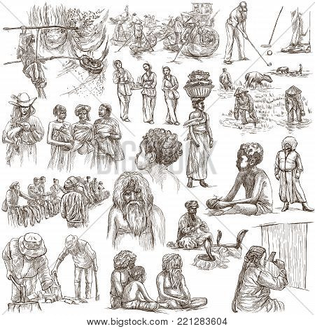 An hand drawn collection. PEOPLE and NATIVES around the World. Pack on white background. Full sized hand drawings. Line art techniques.