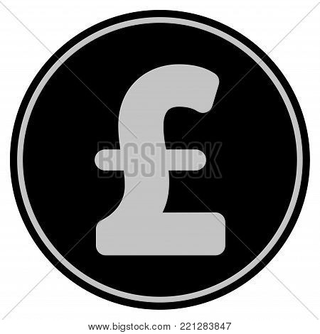 Pound Sterling black coin icon. Vector style is a flat coin symbol using black and light gray colors.