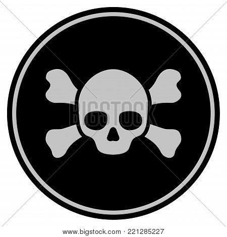 Skull Crossbones black coin icon. Vector style is a flat coin symbol using black and light gray colors.