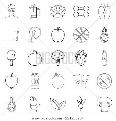 Regimen icons set. Outline set of 25 regimen vector icons for web isolated on white background