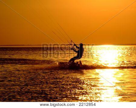 Silhouette Of A Kitesurf On A Gulf 2