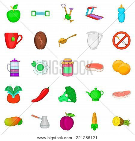 Low calorie food icons set. Cartoon set of 25 low calorie food vector icons for web isolated on white background
