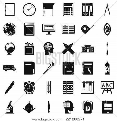 Desk icons set. Simple style of 36 desk vector icons for web isolated on white background