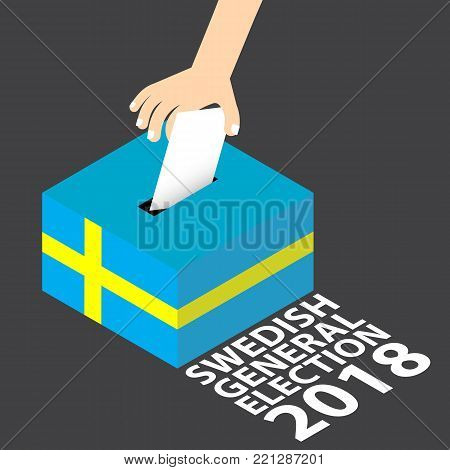 Swedish General Election 2018 Vector Illustration Flat Style - Hand Putting Voting Paper in the Ballot Box