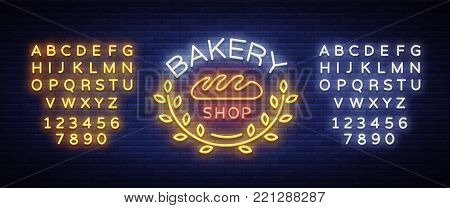 Bakery products logo, fresh bread, loaf. Neon sign, bright banner, shining symbol on the topic of fresh pastries and bakery products. Vector illustration. Editing text neon sign. Neon alphabet.