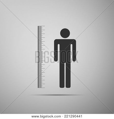 Measuring height body icon isolated on grey background. Flat design. Vector Illustration