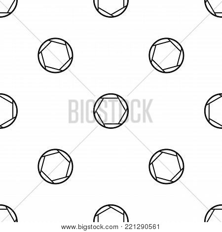 Closed objective pattern repeat seamless in black color for any design. Vector geometric illustration