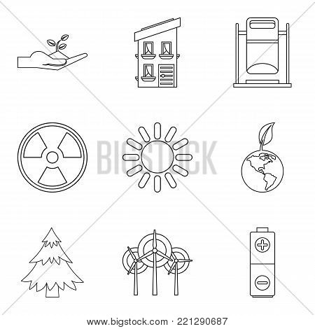 Clean environment icons set. Outline set of 9 clean environment vector icons for web isolated on white background