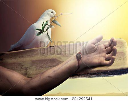 God blessing Jesus by white dove before Easter resurrection