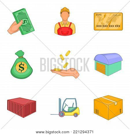 Economic market icons set. Cartoon set of 9 economic market vector icons for web isolated on white background