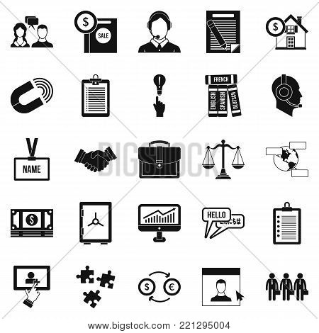 Discussion icons set. Simple set of 25 discussion vector icons for web isolated on white background